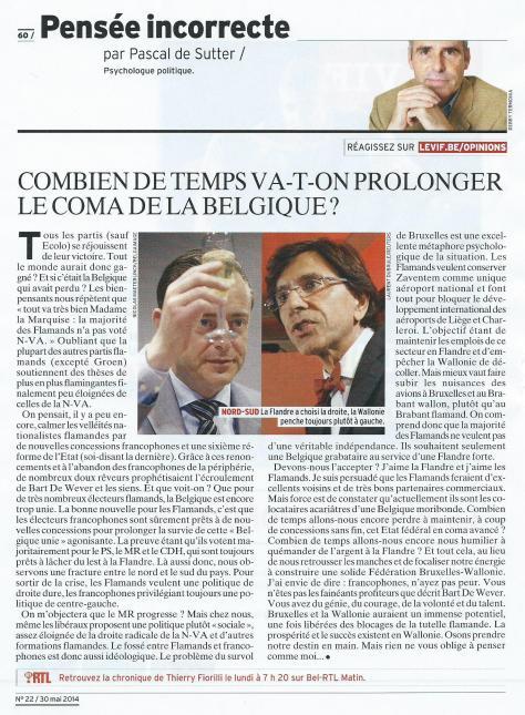 Pascal de Sutter, 30 mai 2014